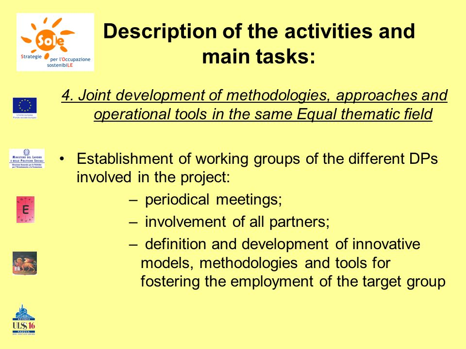 Description of the activities and main tasks: 4.