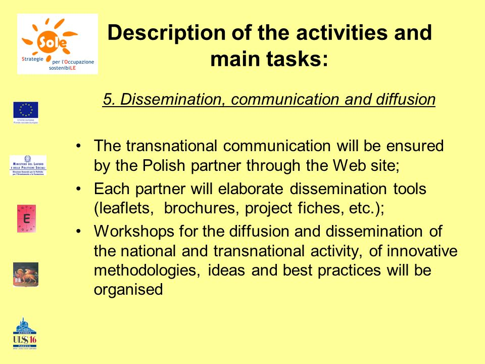 Description of the activities and main tasks: 5.