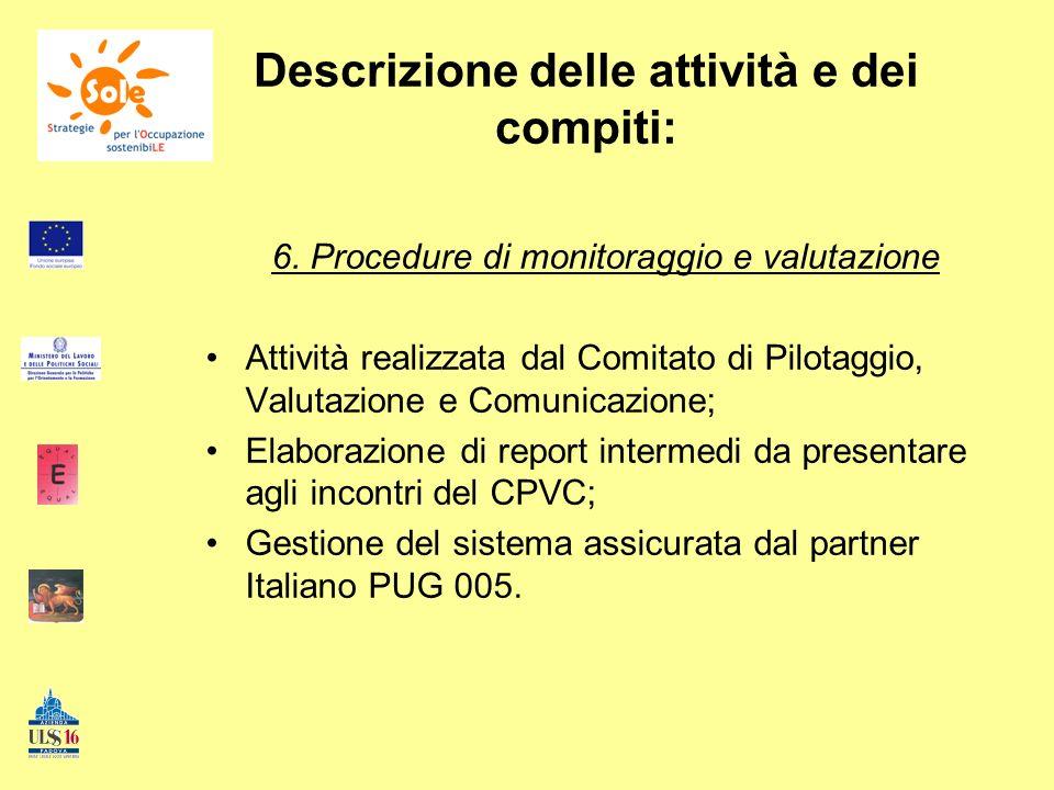 Descrizione delle attività e dei compiti: 6. Procedure di monitoraggio e valutazione Attività realizzata dal Comitato di Pilotaggio, Valutazione e Com