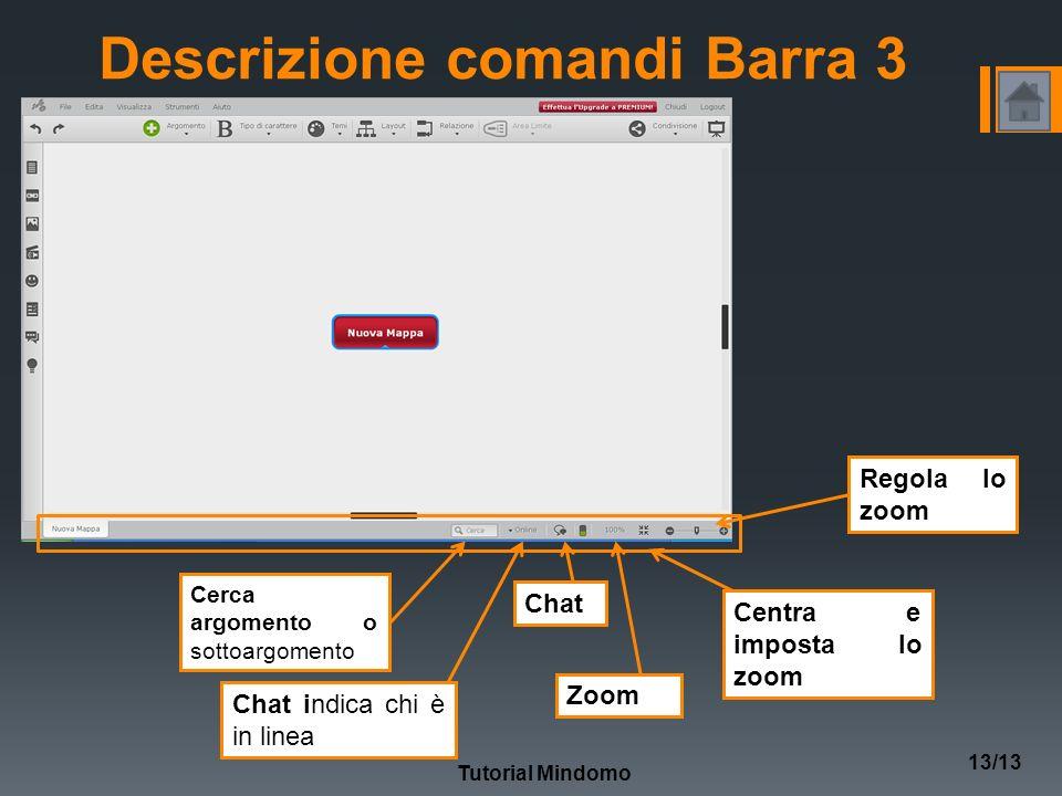 Tutorial Mindomo 13/13 Descrizione comandi Barra 3 Cerca argomento o sottoargomento Chat indica chi è in linea Chat Zoom Centra e imposta lo zoom Regola lo zoom