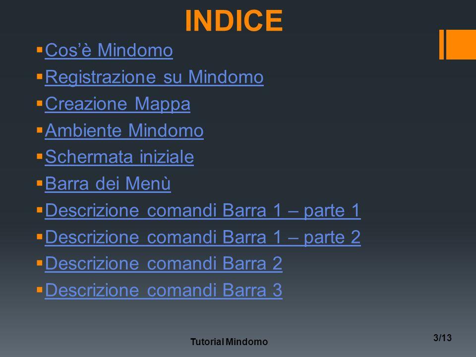 INDICE Cosè Mindomo Registrazione su Mindomo Creazione Mappa Ambiente Mindomo Schermata iniziale Barra dei Menù Descrizione comandi Barra 1 – parte 1 Descrizione comandi Barra 1 – parte 2 Descrizione comandi Barra 2 Descrizione comandi Barra 3 Tutorial Mindomo 3/13