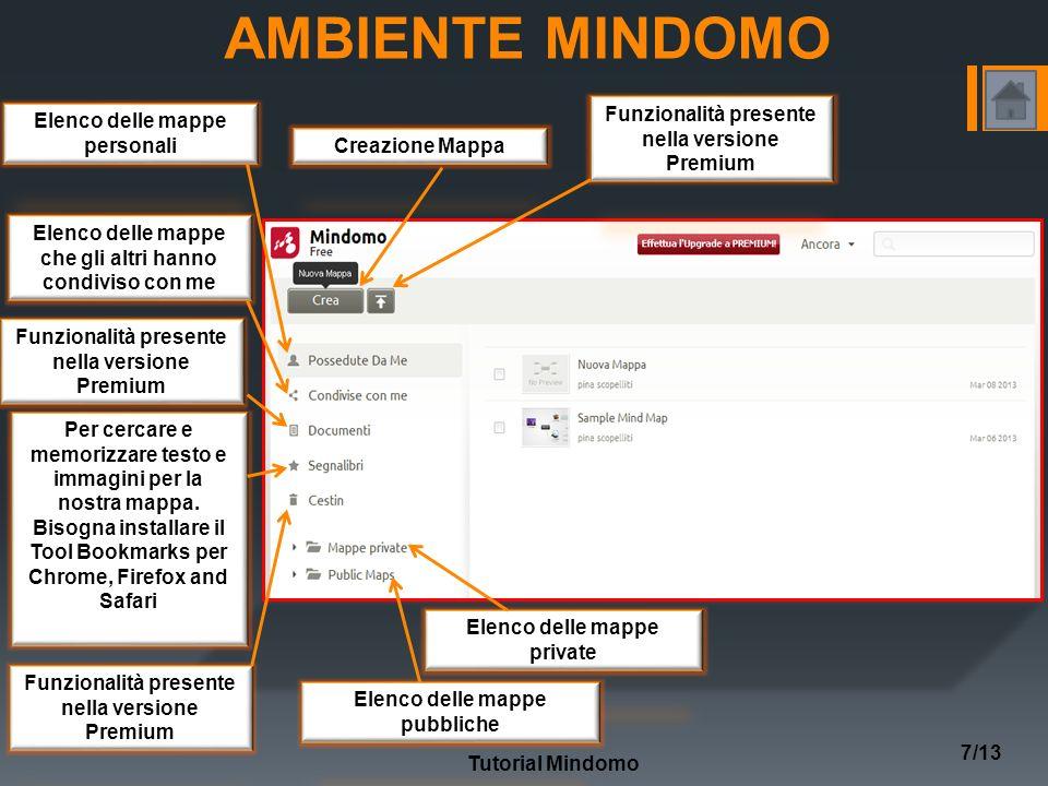 AMBIENTE MINDOMO Tutorial Mindomo 7/13 Elenco delle mappe personali Elenco delle mappe che gli altri hanno condiviso con me Funzionalità presente nella versione Premium Per cercare e memorizzare testo e immagini per la nostra mappa.