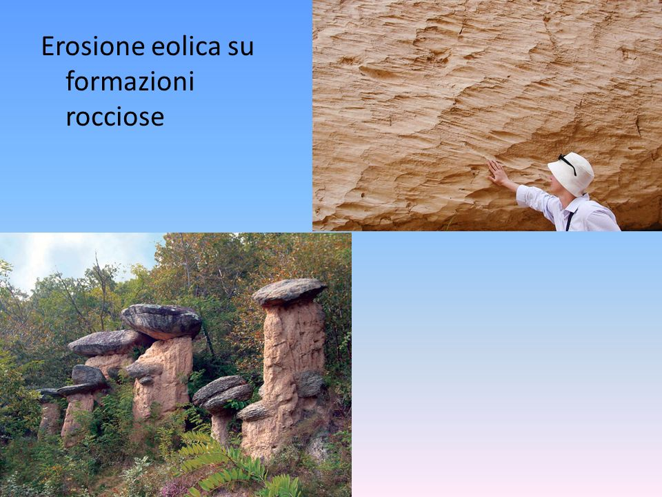 Erosione eolica su formazioni rocciose