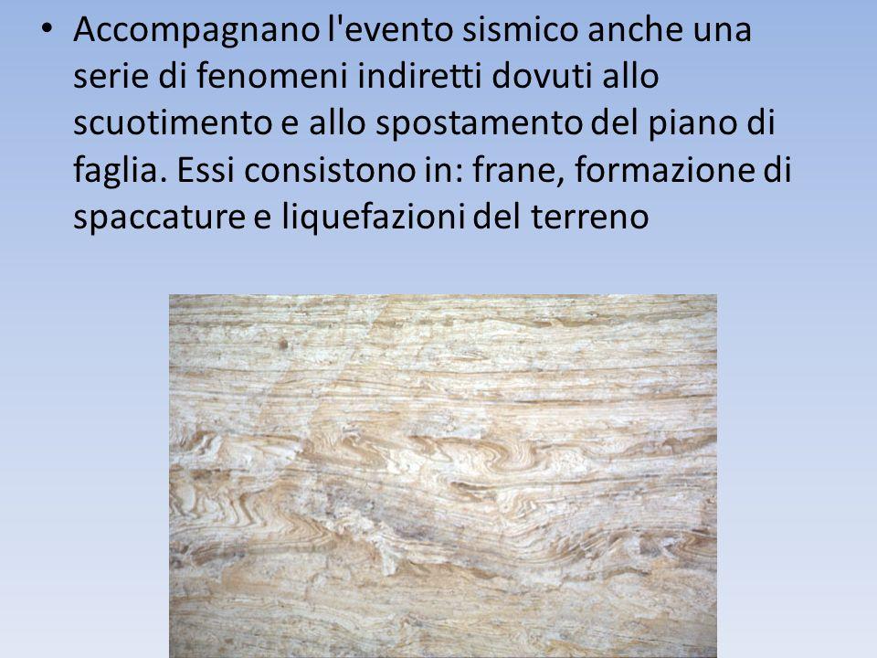 Accompagnano l'evento sismico anche una serie di fenomeni indiretti dovuti allo scuotimento e allo spostamento del piano di faglia. Essi consistono in