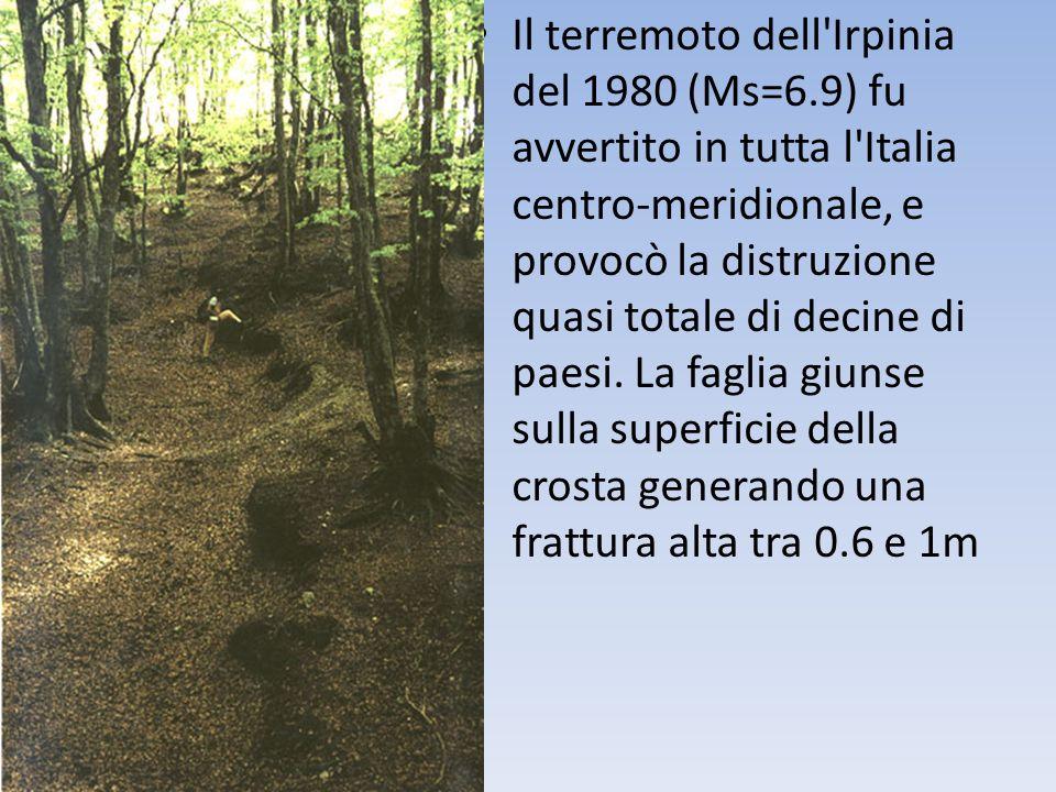 Il terremoto dell Irpinia del 1980 (Ms=6.9) fu avvertito in tutta l Italia centro-meridionale, e provocò la distruzione quasi totale di decine di paesi.