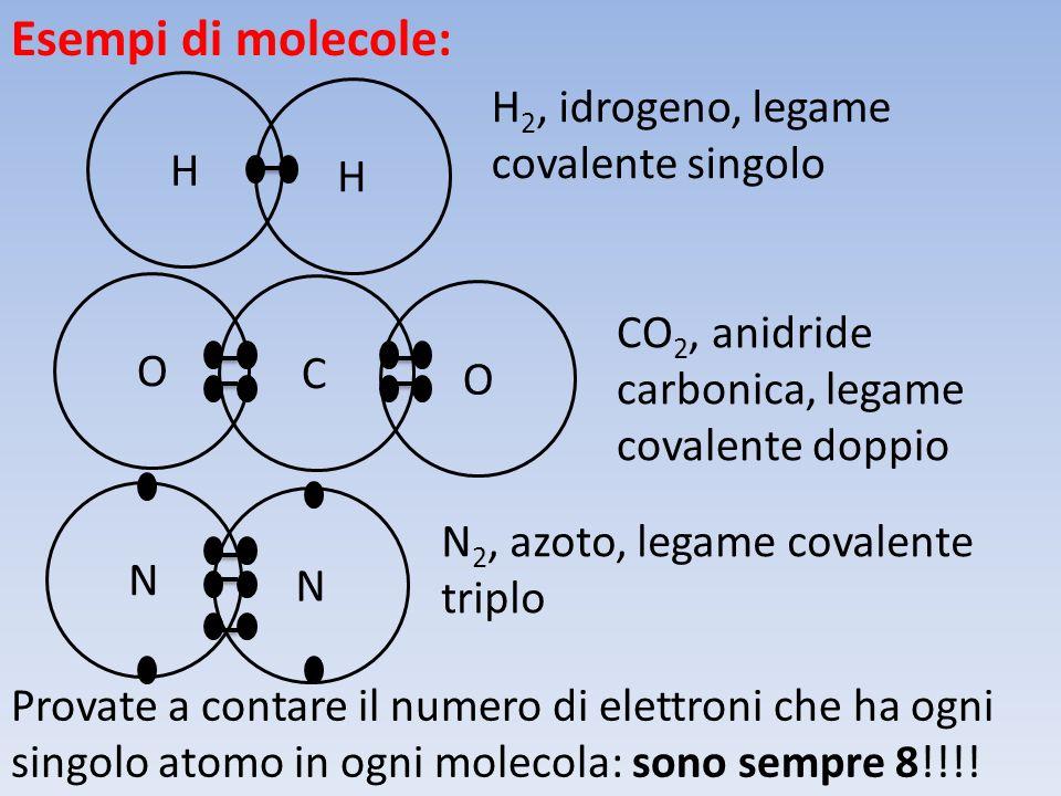 Esempi di molecole: H H H 2, idrogeno, legame covalente singolo N N N 2, azoto, legame covalente triplo C O O CO 2, anidride carbonica, legame covalente doppio Provate a contare il numero di elettroni che ha ogni singolo atomo in ogni molecola: sono sempre 8!!!!