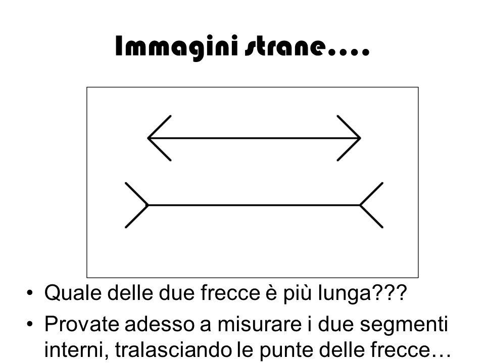 Immagini strane…. Quale delle due frecce è più lunga??? Provate adesso a misurare i due segmenti interni, tralasciando le punte delle frecce…