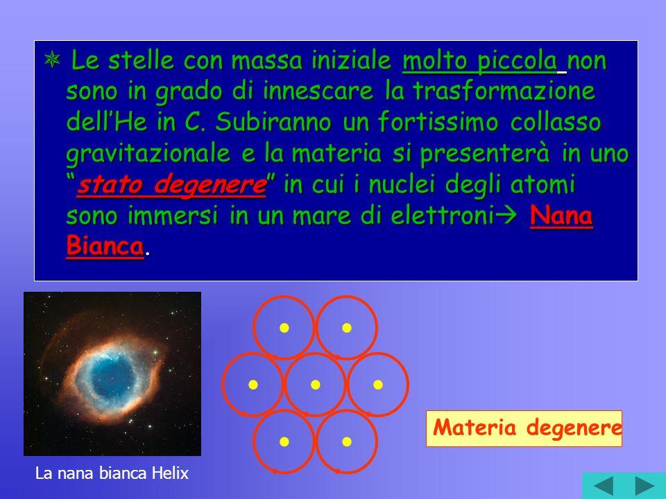 Le stelle con massa iniziale molto piccola non sono in grado di innescare la trasformazione dellHe in C.