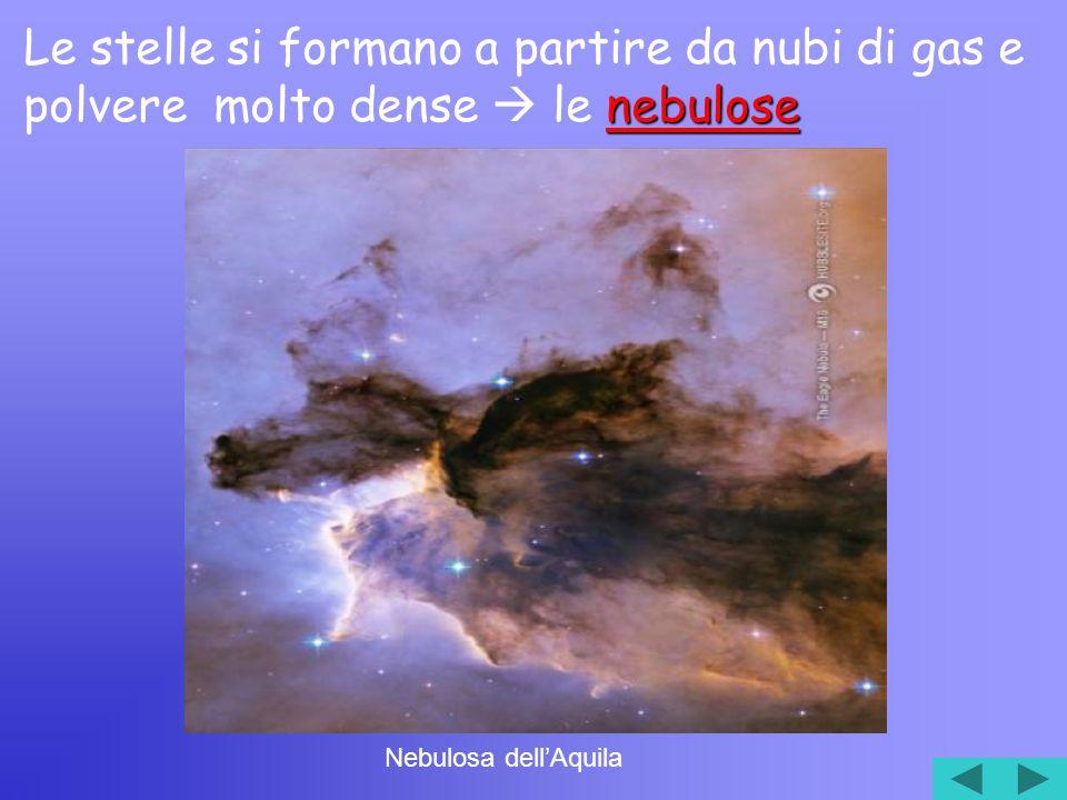 nebulose Le stelle si formano a partire da nubi di gas e polvere molto dense le nebulose Nebulosa dellAquila