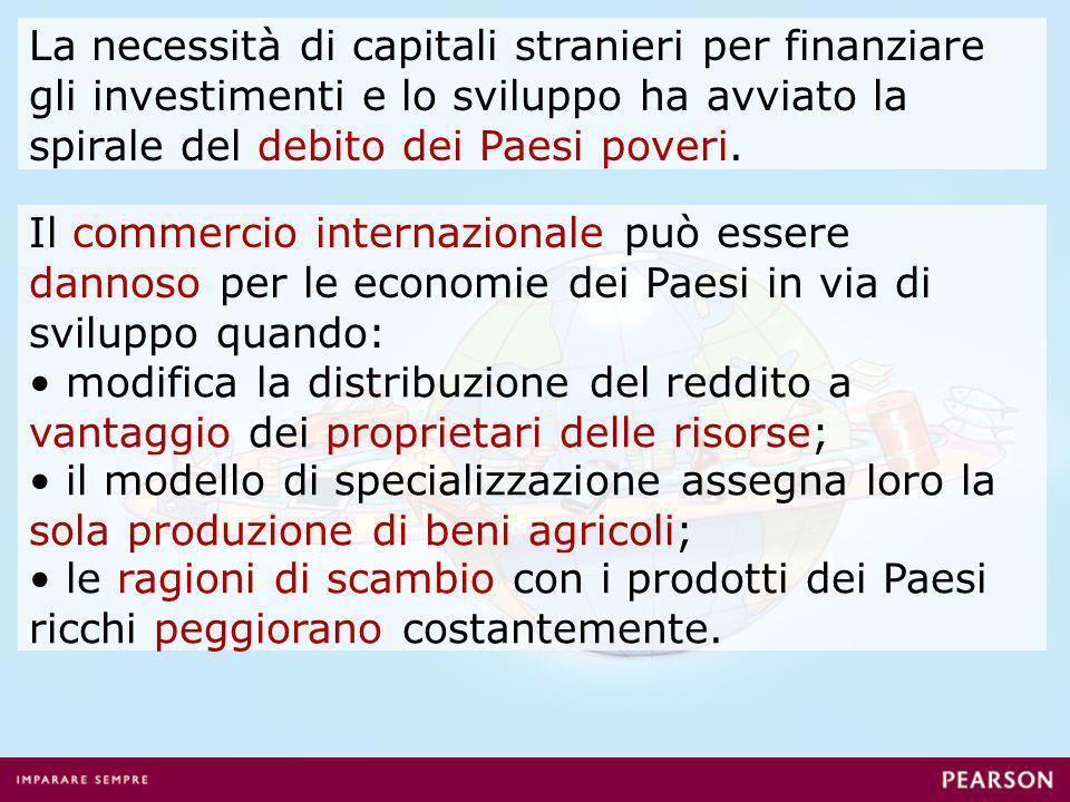 La necessità di capitali stranieri per finanziare gli investimenti e lo sviluppo ha avviato la spirale del debito dei Paesi poveri. Il commercio inter