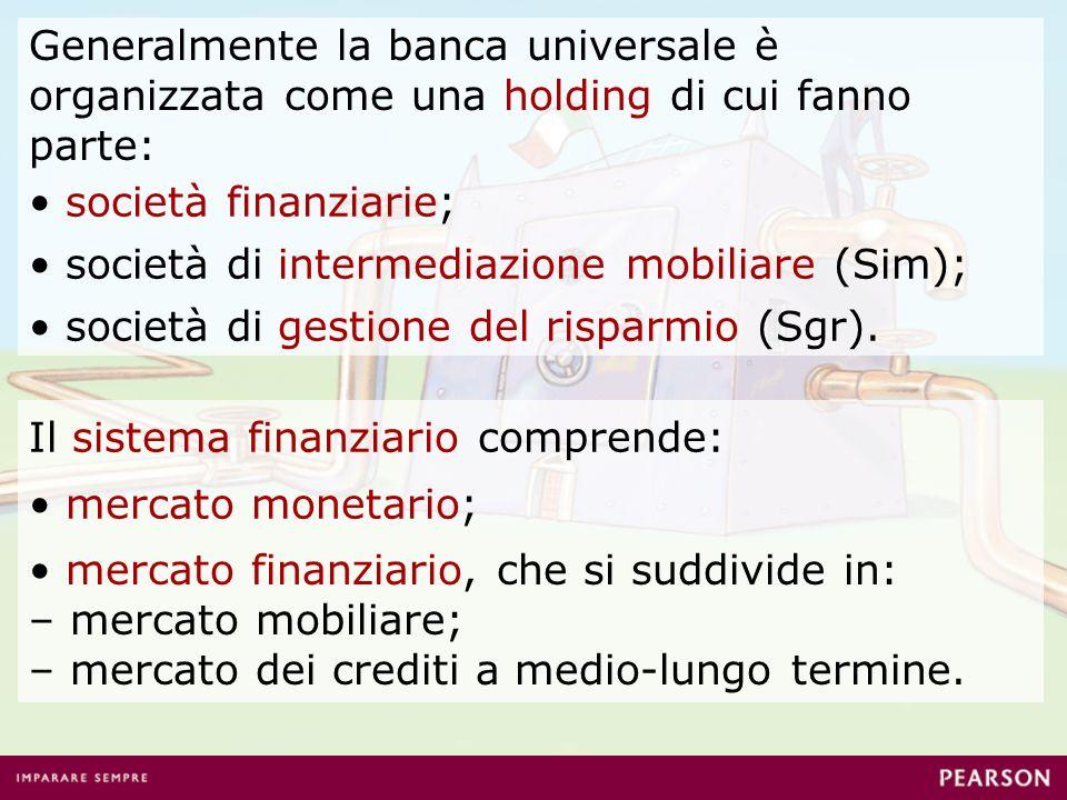 mercato monetario; mercato finanziario, che si suddivide in: – mercato mobiliare; – mercato dei crediti a medio-lungo termine. società finanziarie; Ge