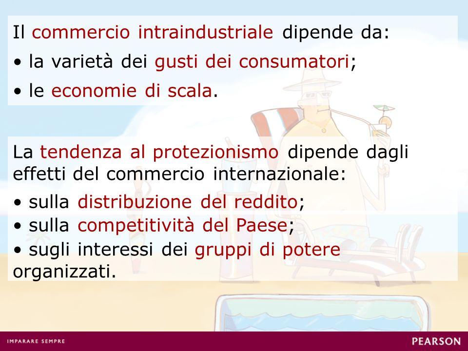 Il commercio intraindustriale dipende da: la varietà dei gusti dei consumatori; le economie di scala.