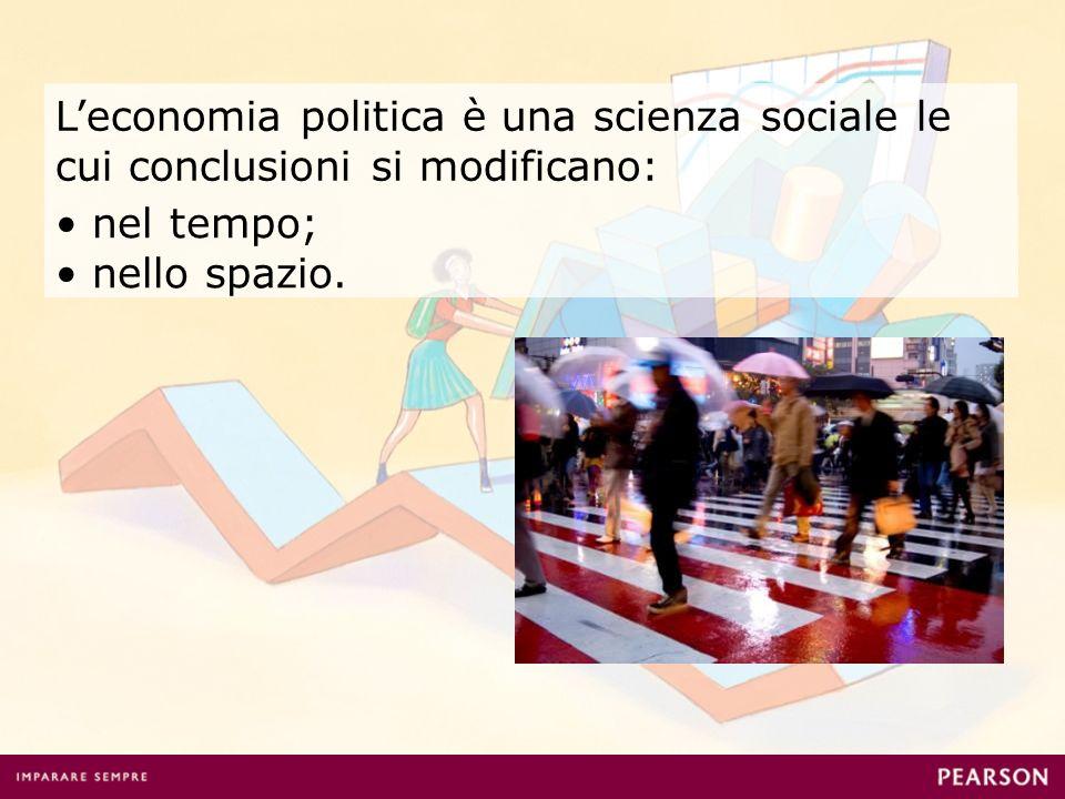 Leconomia politica è una scienza sociale le cui conclusioni si modificano: nel tempo; nello spazio.