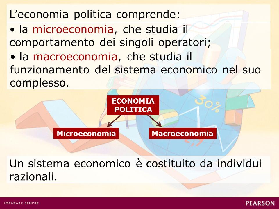 Leconomia politica comprende: MicroeconomiaMacroeconomia Un sistema economico è costituito da individui razionali. la microeconomia, che studia il com