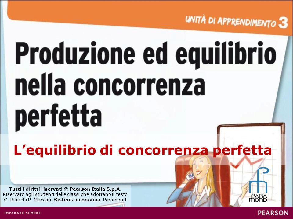 Lequilibrio di concorrenza perfetta Tutti i diritti riservati © Pearson Italia S.p.A. Riservato agli studenti delle classi che adottano il testo C. Bi