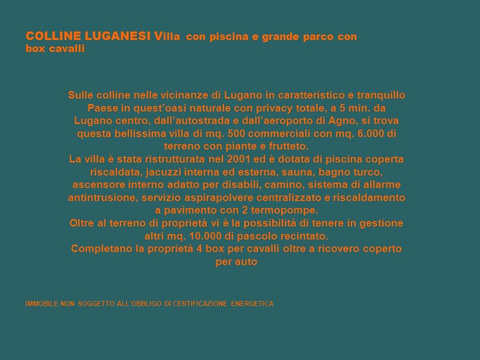 COLLINE LUGANESI V illa con piscina e grande parco con box cavalli Sulle colline nelle vicinanze di Lugano in caratteristico e tranquillo Paese in que