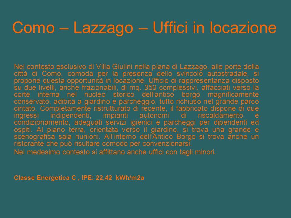 Como – Lazzago – Uffici in locazione Nel contesto esclusivo di Villa Giulini nella piana di Lazzago, alle porte della città di Como, comoda per la pre