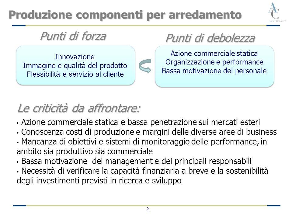 2 Produzione componenti per arredamento Le criticità da affrontare: Azione commerciale statica e bassa penetrazione sui mercati esteri Conoscenza cost