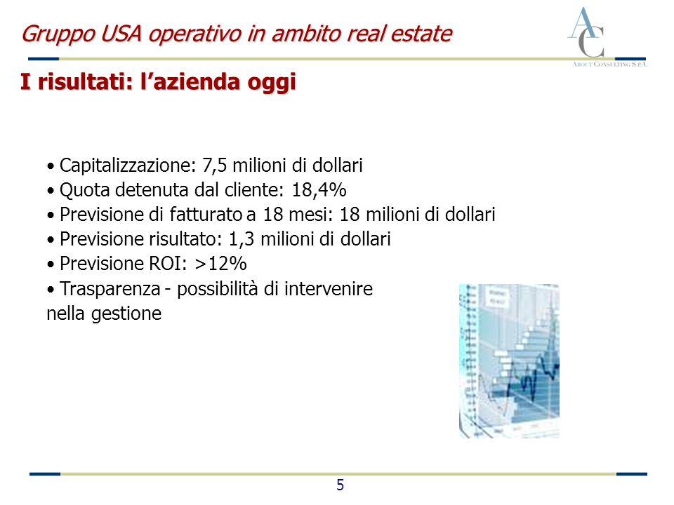 5 Capitalizzazione: 7,5 milioni di dollari Quota detenuta dal cliente: 18,4% Previsione di fatturato a 18 mesi: 18 milioni di dollari Previsione risul