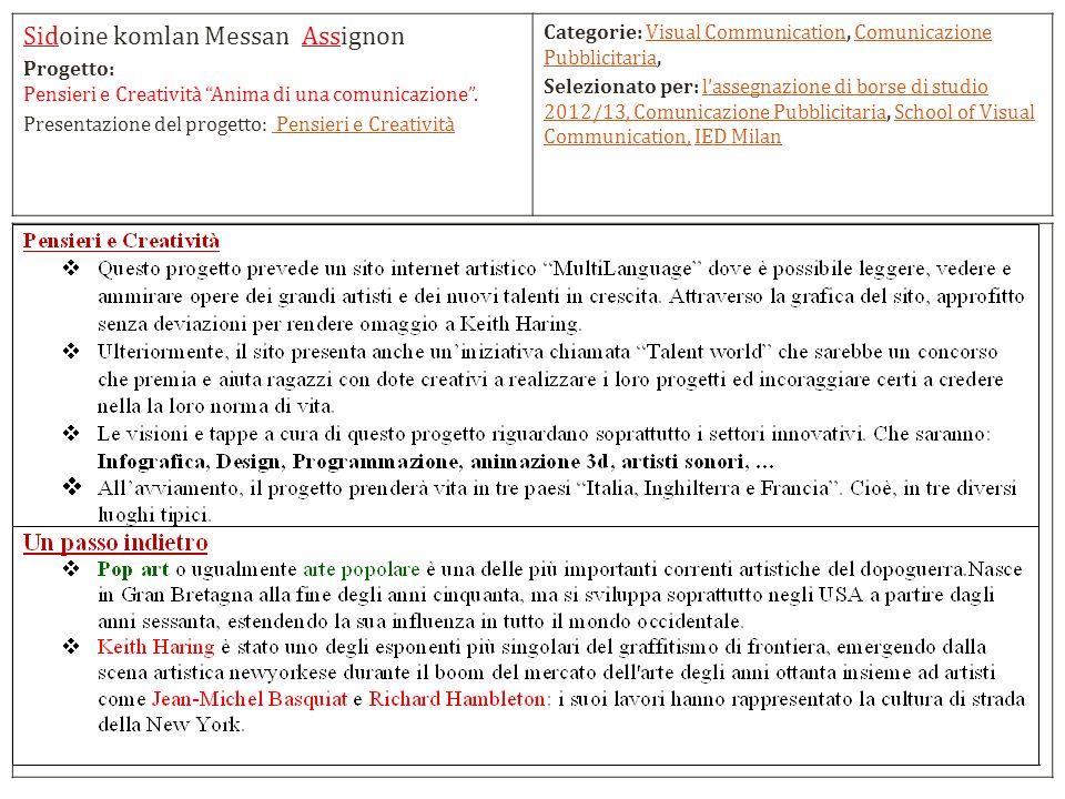 Sidoine komlan Messan Assignon Progetto: Pensieri e Creatività Anima di una comunicazione.