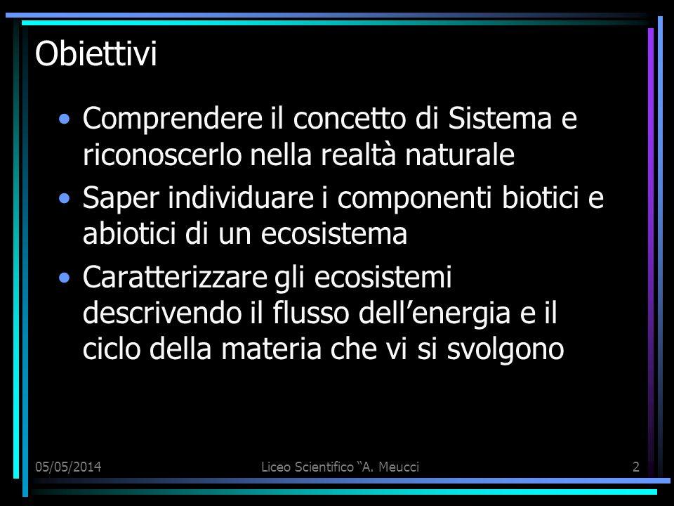 05/05/2014Liceo Scientifico A. Meucci2 Obiettivi Comprendere il concetto di Sistema e riconoscerlo nella realtà naturale Saper individuare i component