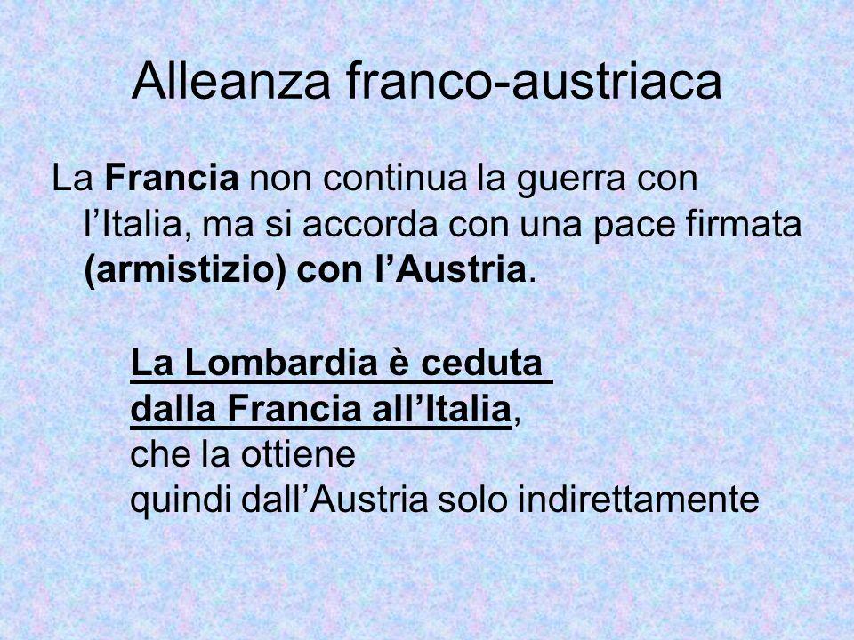 Alleanza franco-austriaca La Francia non continua la guerra con lItalia, ma si accorda con una pace firmata (armistizio) con lAustria. La Lombardia è