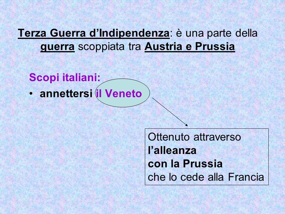 Terza Guerra dIndipendenza: è una parte della guerra scoppiata tra Austria e Prussia Scopi italiani: annettersi il Veneto Ottenuto attraverso lalleanz