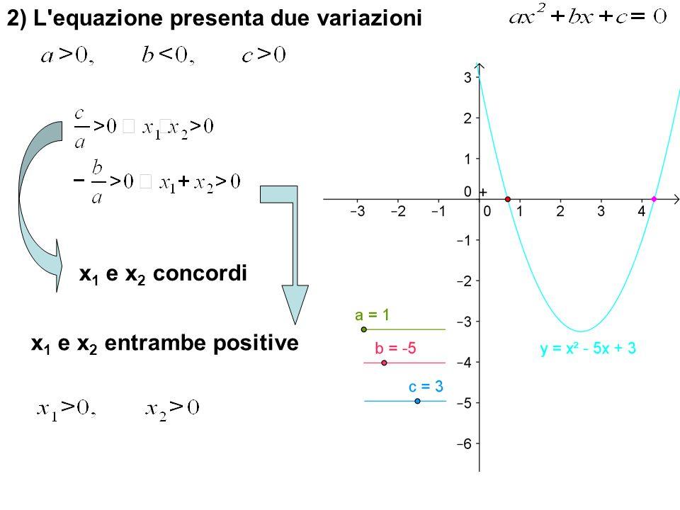 2) L'equazione presenta due variazioni x 1 e x 2 concordi x 1 e x 2 entrambe positive