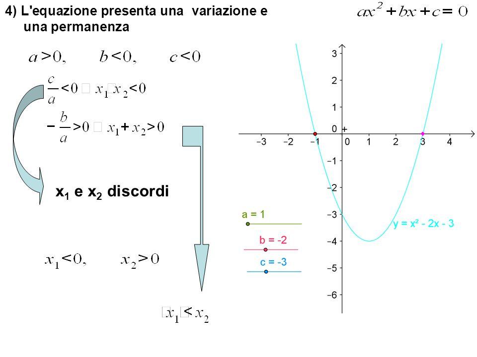 4) L'equazione presenta una variazione e una permanenza x 1 e x 2 discordi