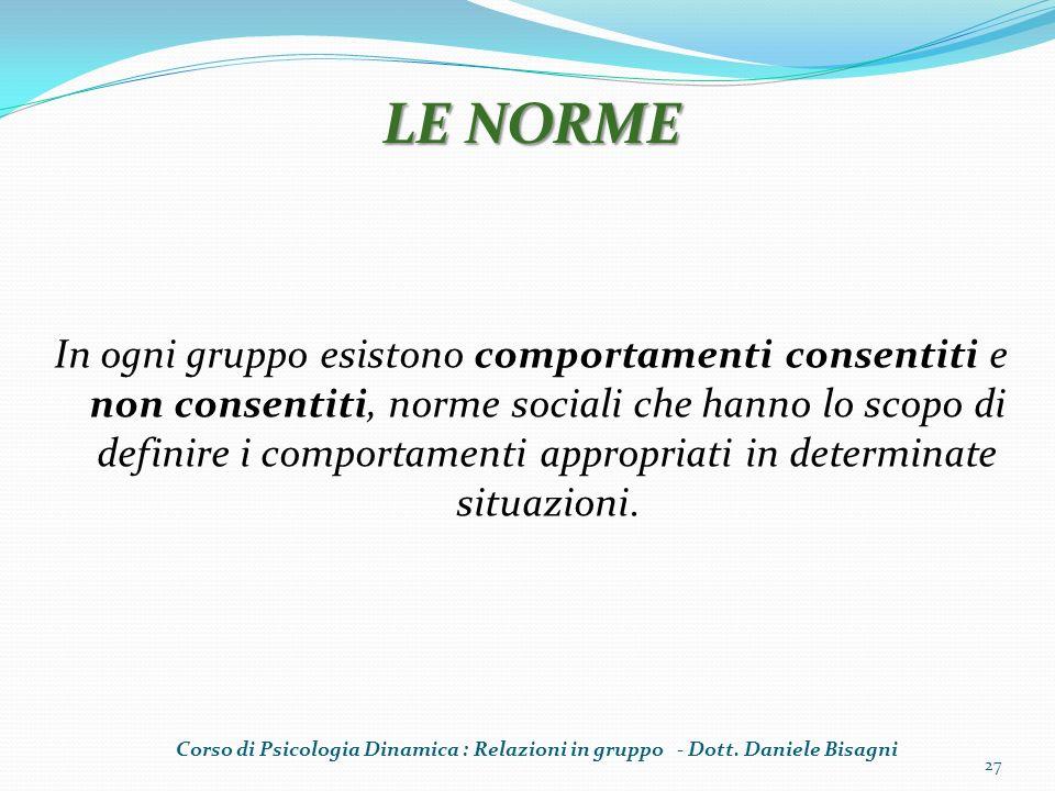 In ogni gruppo esistono comportamenti consentiti e non consentiti, norme sociali che hanno lo scopo di definire i comportamenti appropriati in determinate situazioni.