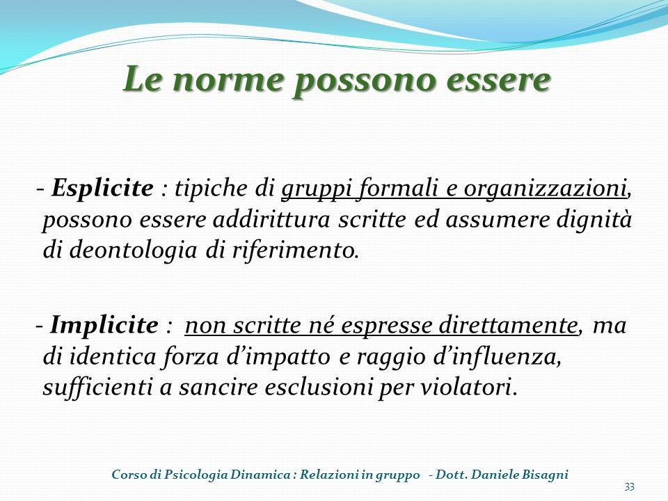 - Esplicite : tipiche di gruppi formali e organizzazioni, possono essere addirittura scritte ed assumere dignità di deontologia di riferimento. - Impl