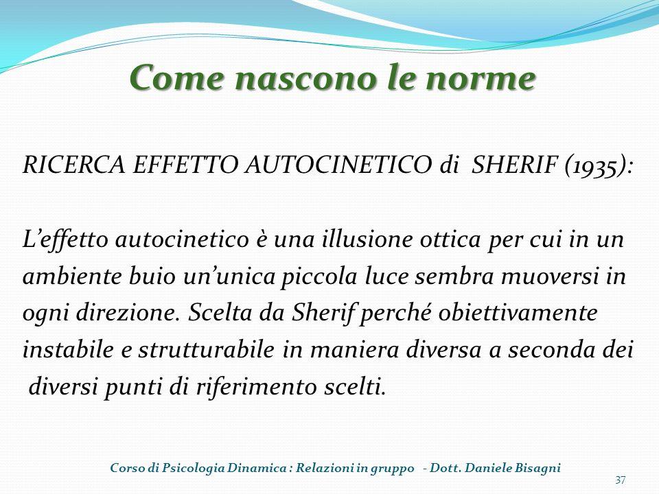 RICERCA EFFETTO AUTOCINETICO di SHERIF (1935): Leffetto autocinetico è una illusione ottica per cui in un ambiente buio ununica piccola luce sembra muoversi in ogni direzione.