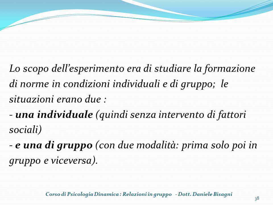 Lo scopo dellesperimento era di studiare la formazione di norme in condizioni individuali e di gruppo; le situazioni erano due : - una individuale (qu