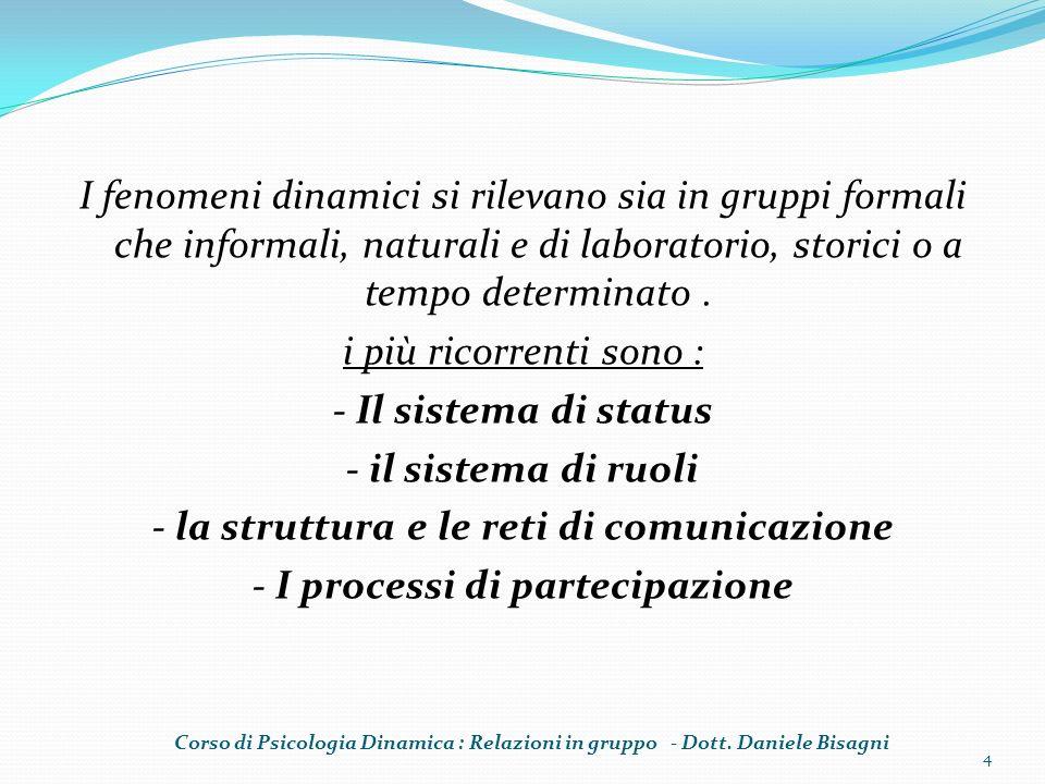I fenomeni dinamici si rilevano sia in gruppi formali che informali, naturali e di laboratorio, storici o a tempo determinato. i più ricorrenti sono :