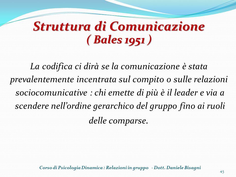 La codifica ci dirà se la comunicazione è stata prevalentemente incentrata sul compito o sulle relazioni sociocomunicative : chi emette di più è il leader e via a scendere nellordine gerarchico del gruppo fino ai ruoli delle comparse.