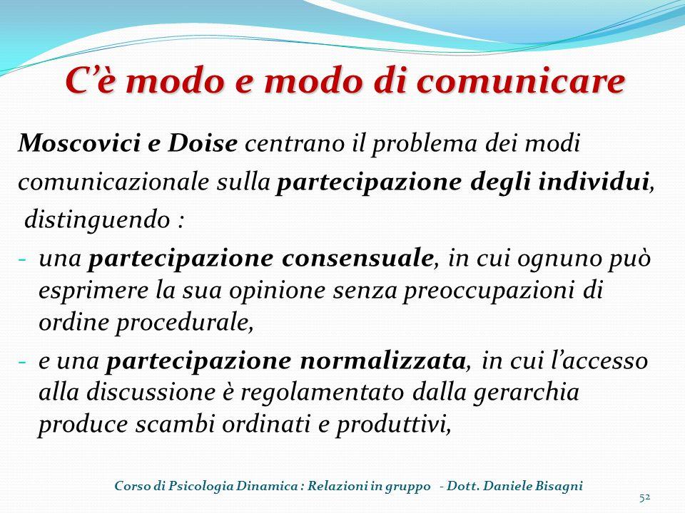 Moscovici e Doise centrano il problema dei modi comunicazionale sulla partecipazione degli individui, distinguendo : - una partecipazione consensuale,
