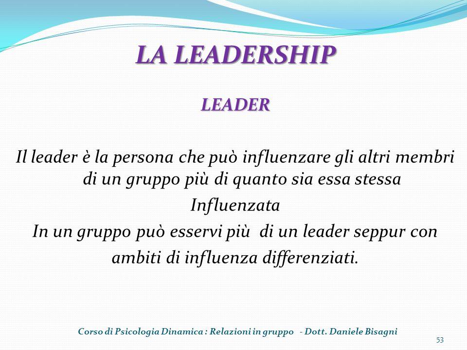 LEADER Il leader è la persona che può influenzare gli altri membri di un gruppo più di quanto sia essa stessa Influenzata In un gruppo può esservi più