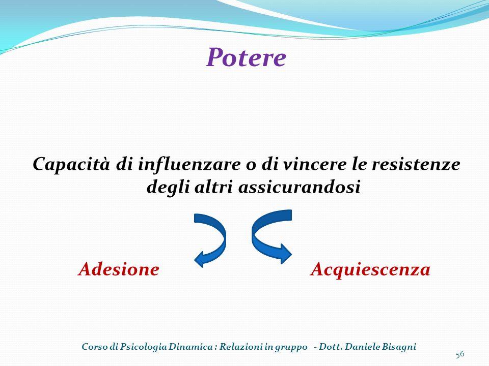 Capacità di influenzare o di vincere le resistenze degli altri assicurandosi Adesione Acquiescenza 56 Potere Corso di Psicologia Dinamica : Relazioni