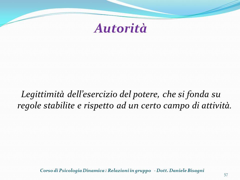 Legittimità dellesercizio del potere, che si fonda su regole stabilite e rispetto ad un certo campo di attività. 57 Autorità Corso di Psicologia Dinam