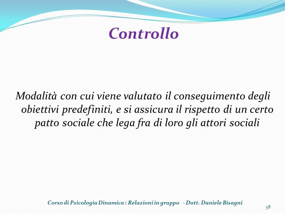 Modalità con cui viene valutato il conseguimento degli obiettivi predefiniti, e si assicura il rispetto di un certo patto sociale che lega fra di loro