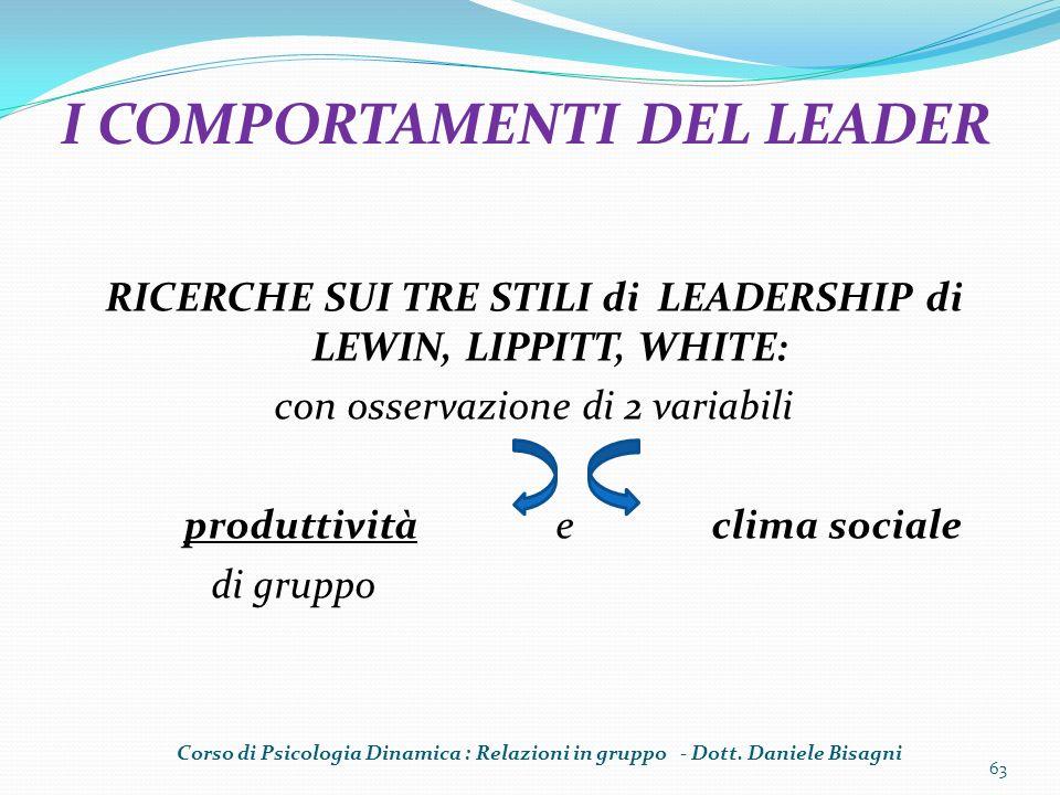 RICERCHE SUI TRE STILI di LEADERSHIP di LEWIN, LIPPITT, WHITE: con osservazione di 2 variabili produttività e clima sociale di gruppo 63 I COMPORTAMEN