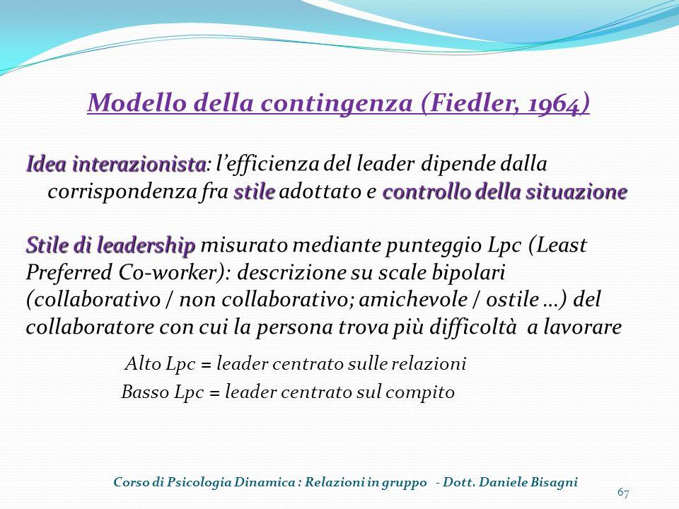 67 Modello della contingenza (Fiedler, 1964) Idea interazionista: lefficienza del leader dipende dalla corrispondenza fra stile adottato e controllo d