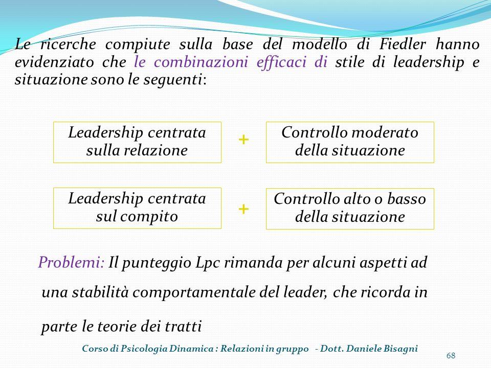 68 Problemi: Il punteggio Lpc rimanda per alcuni aspetti ad una stabilità comportamentale del leader, che ricorda in parte le teorie dei tratti Leader
