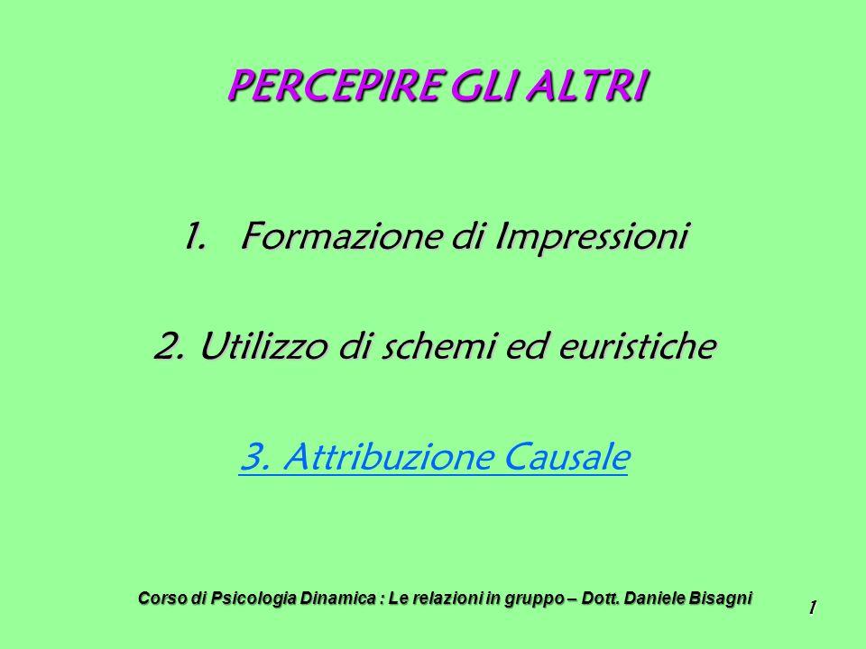 1 PERCEPIRE GLI ALTRI 1.Formazione di Impressioni 2.