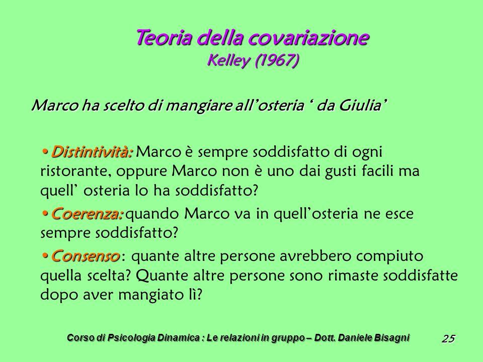 25 Teoria della covariazione Kelley (1967) Marco ha scelto di mangiare allosteria da Giulia Distintività:Distintività: Marco è sempre soddisfatto di ogni ristorante, oppure Marco non è uno dai gusti facili ma quell osteria lo ha soddisfatto.