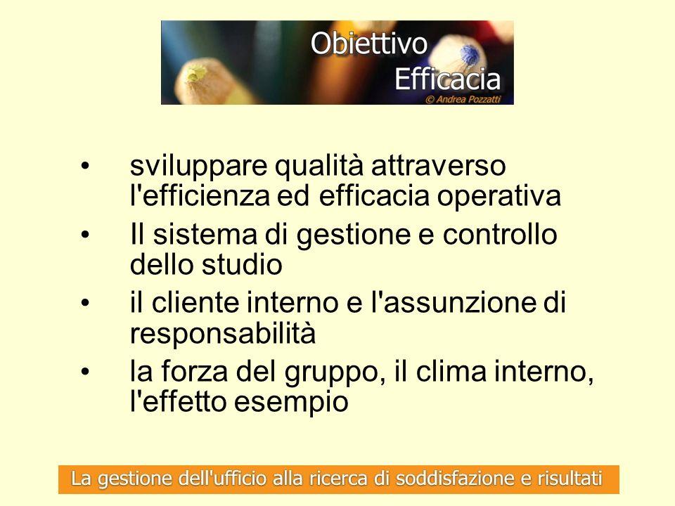 sviluppare qualità attraverso l'efficienza ed efficacia operativa Il sistema di gestione e controllo dello studio il cliente interno e l'assunzione di