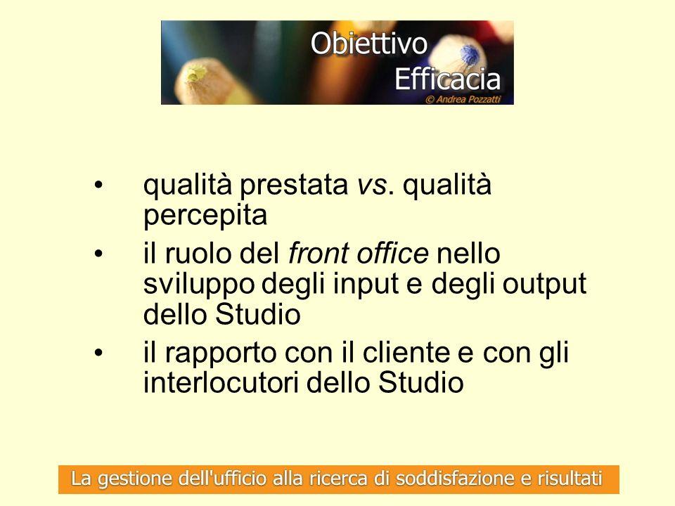 qualità prestata vs. qualità percepita il ruolo del front office nello sviluppo degli input e degli output dello Studio il rapporto con il cliente e c