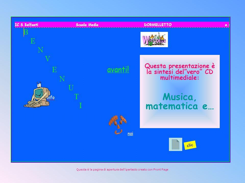 Questa presentazione è la sintesi delvero CD multimediale: Musica, matematica e… Questa è la pagina di apertura dellipertesto creato con Front Page clic