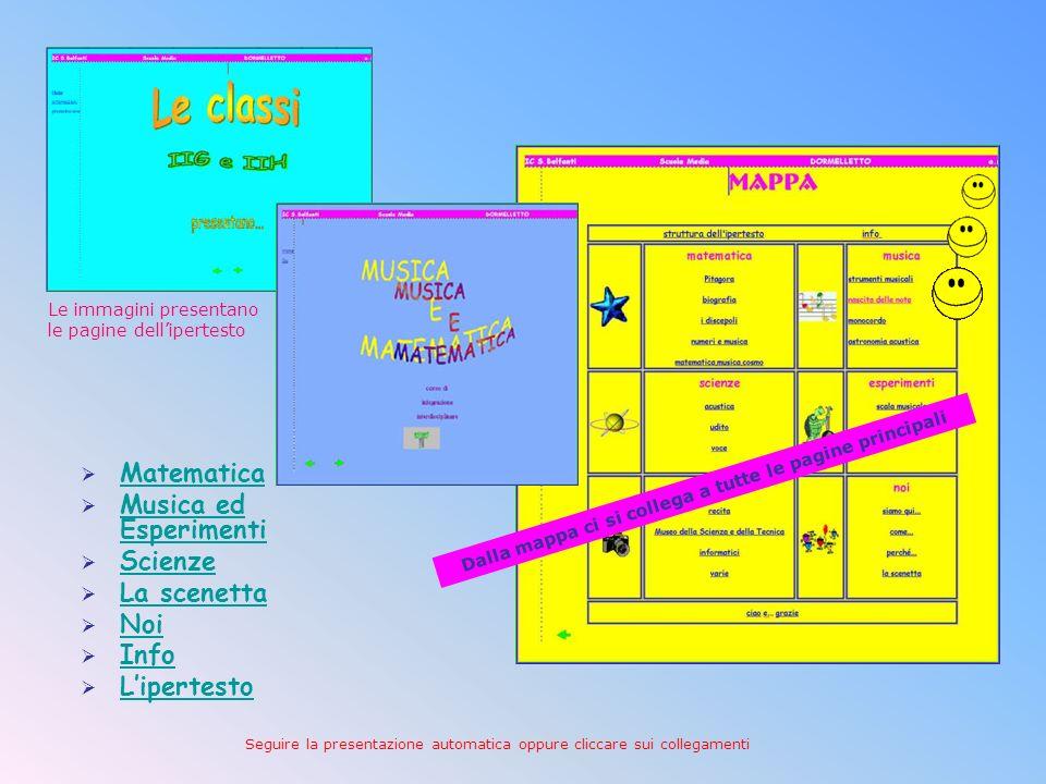 Questa presentazione è la sintesi delvero CD multimediale: Musica, matematica e… Questa è la pagina di apertura dellipertesto creato con Front Page cl