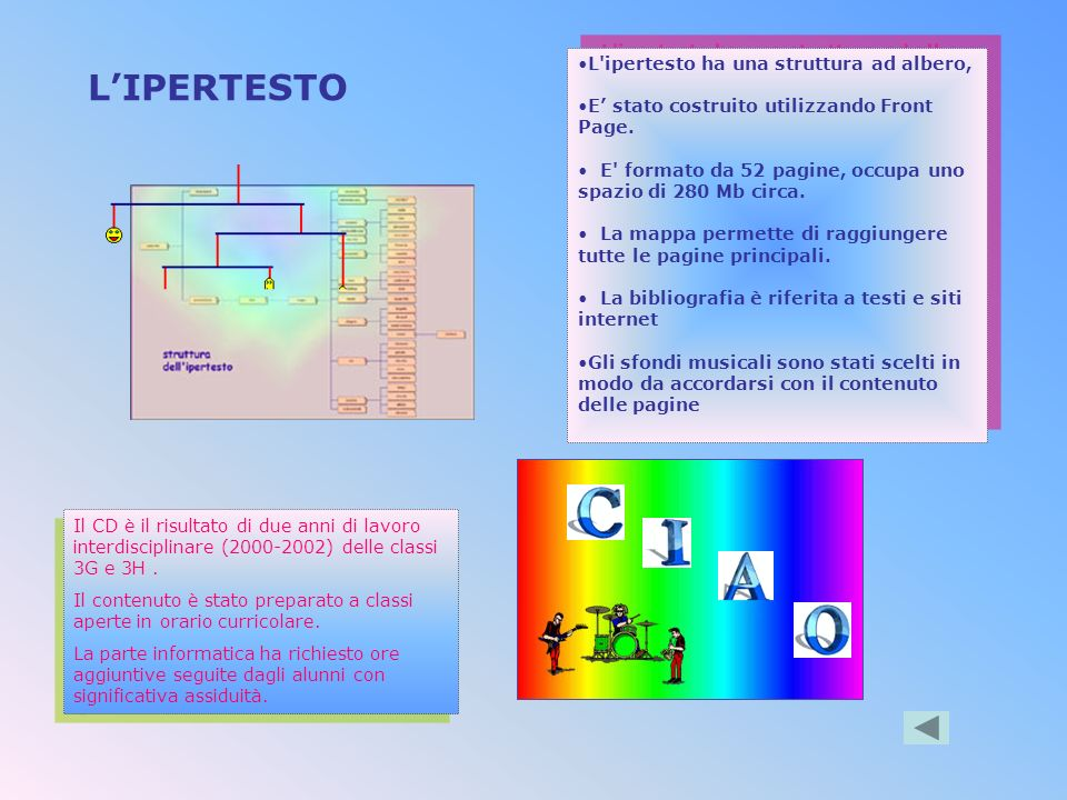 LIPERTESTO L ipertesto ha una struttura ad albero, E stato costruito utilizzando Front Page.